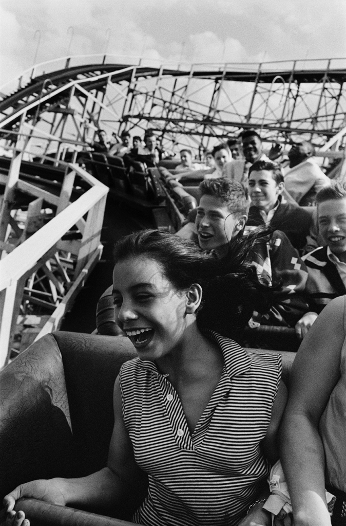 """""""Screaming on the Cyclone, Coney Island, 1955"""" by Harold Feinstein (courtesy of the artist's estate and Panopticon Gallery, Boston)."""