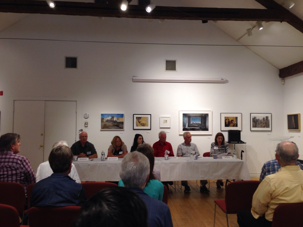 """What is your legacy and why should you care?"" panelists (L to R): Neal Rantoul, Alison Nordstrom, Sarah Pollman, Leslie Bartlett and Tony Decaneas. Appearing to be delivering a last will and testament, I served as moderator, at far right (photo courtesy of the Griffin Museum)."