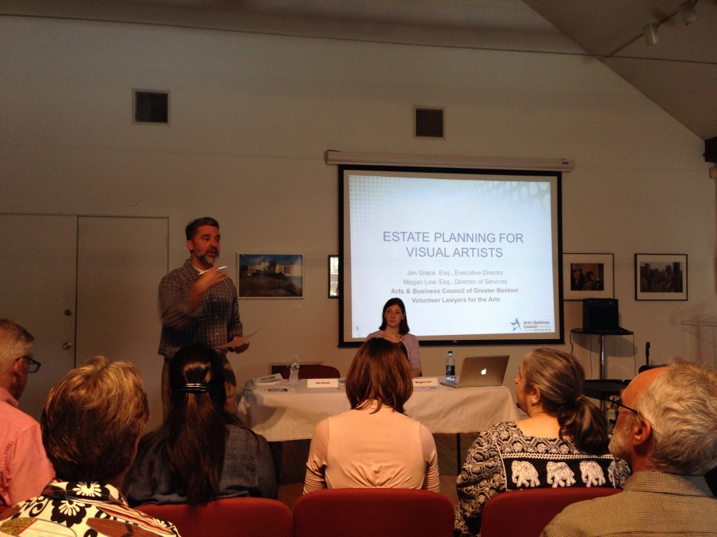 """Jim Grace and Megan Low discuss the legalities of """"Creating a Lasting Legacy"""" (photo courtesy of the Griffin Museum)."""
