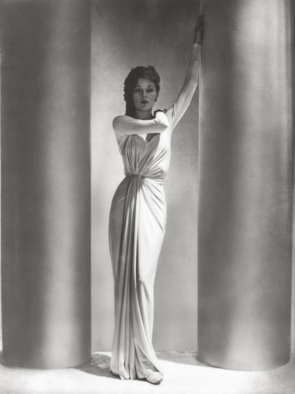 """""""Alix Dress, Fashion, Lud with columns, 1938"""" by Horst P. Horst (courtesy of Robert Klein Gallery, Boston)"""