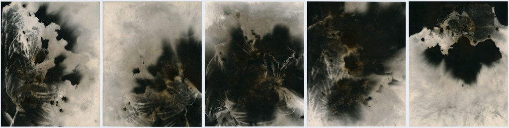 """""""Assailant 5, 2014"""", unique gunpowder generated gelatin silver prints from found target by Christopher Colville (courtesy of the artist and Griffin Museum of Photography)."""