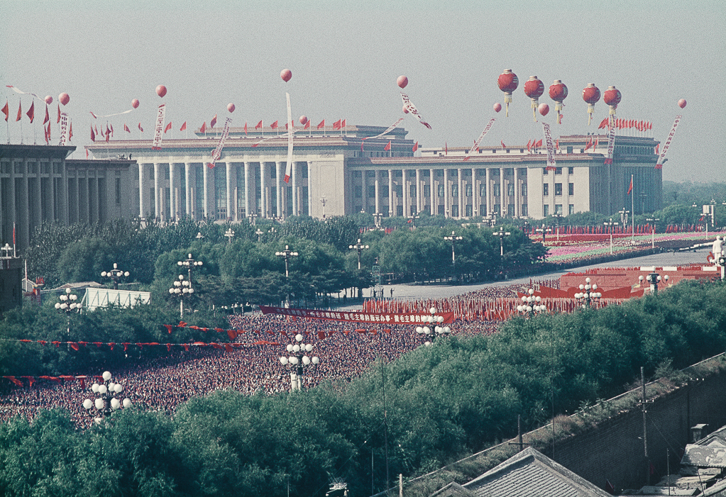 """Untitled (National Day celebration, when more than aa million people just marched holding up their Little Red Book to the rhythm of chanted slogans. It was the only celebration of this kind. This photo is taken from the Beijing Hotel), Beijing, China, October, 1966"" by Solange Brand (courtesy of the artist and Robert Klein Gallery, Boston)."