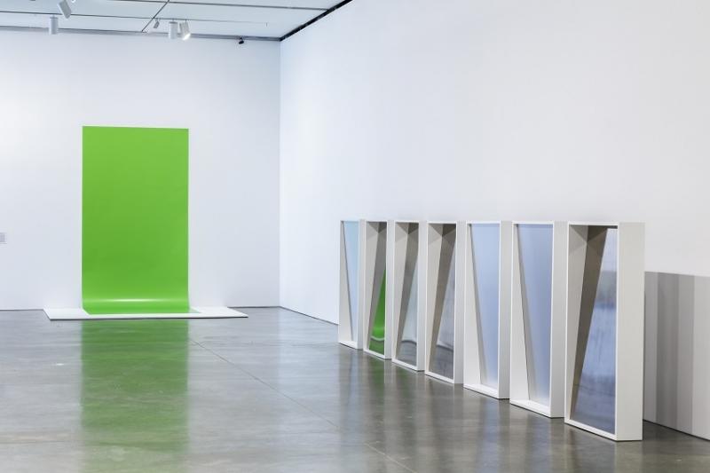 Installation view of exhibit, including green screen by Liz Deschenes (courtesy of ICA, Boston).