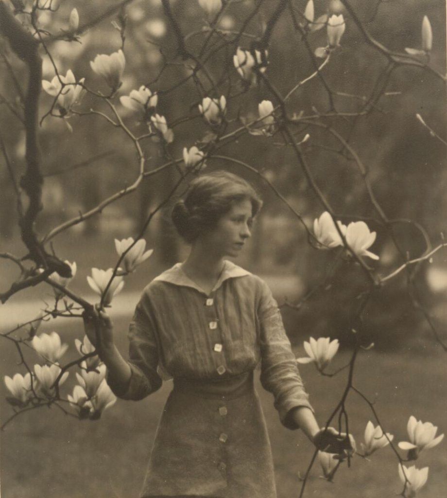 """Edna St. Vincent Millay, c. 1917"" toned gelatin silver print by Arnold Genthe (American, 1869-1942) (courtesy of the J. Paul Getty Museum, Los Angeles)."