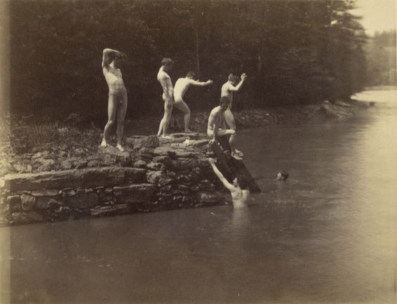 """Male Figures at the Site of Swimming, 1884"" albumen silver print by Thomas Eakins (American, 1844-1916), (courtesy of the J. Paul Getty Museum, Los Angeles)."