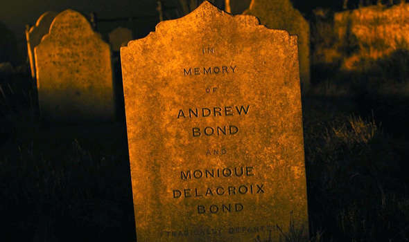 Either the gravestones of Bond's parents... or another detail in the grand brainwashing codename conspiracy. I prefer the latter interpretation.