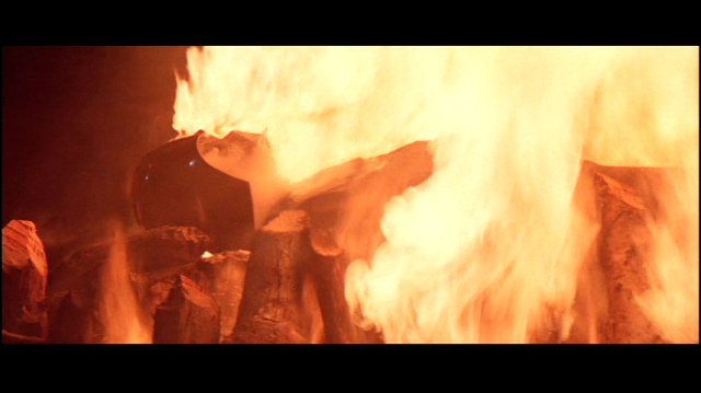 This is right before Luke climbs onto the pyre and then wakes up in the morning with Ewoks clinging to him.