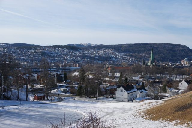 View of Trondheim and Nidarosdomen from Kristiansten Fort