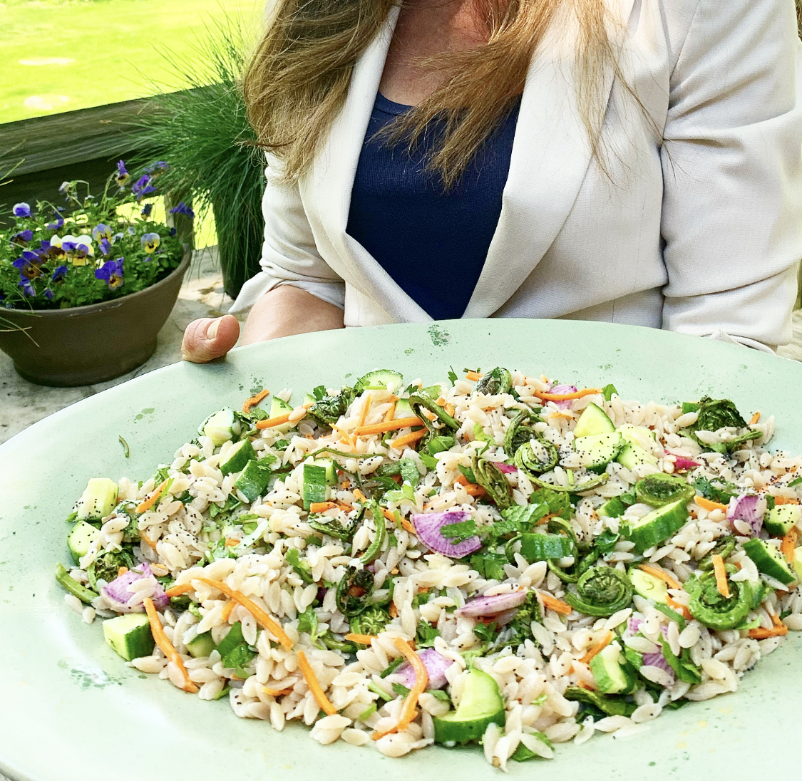 GRAIN-FREE ORZO SALAD WITH FIDDLEHEADS
