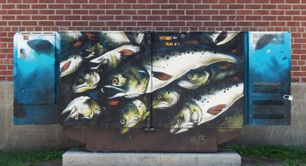 Fish painted utility box