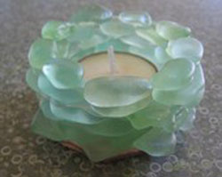 beach glass votive