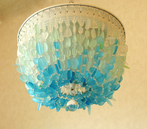 beach glass light fixture