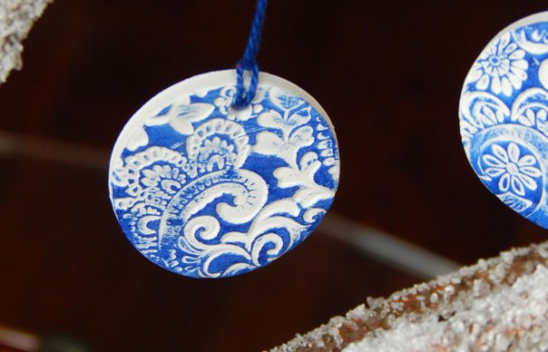 blue and white ornament