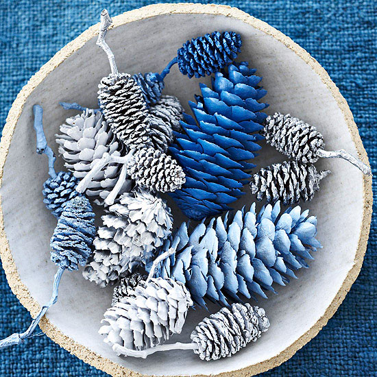 blue painted pinecones