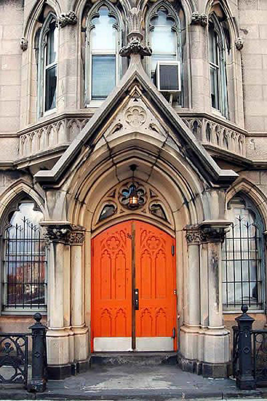 orange cathedral doors