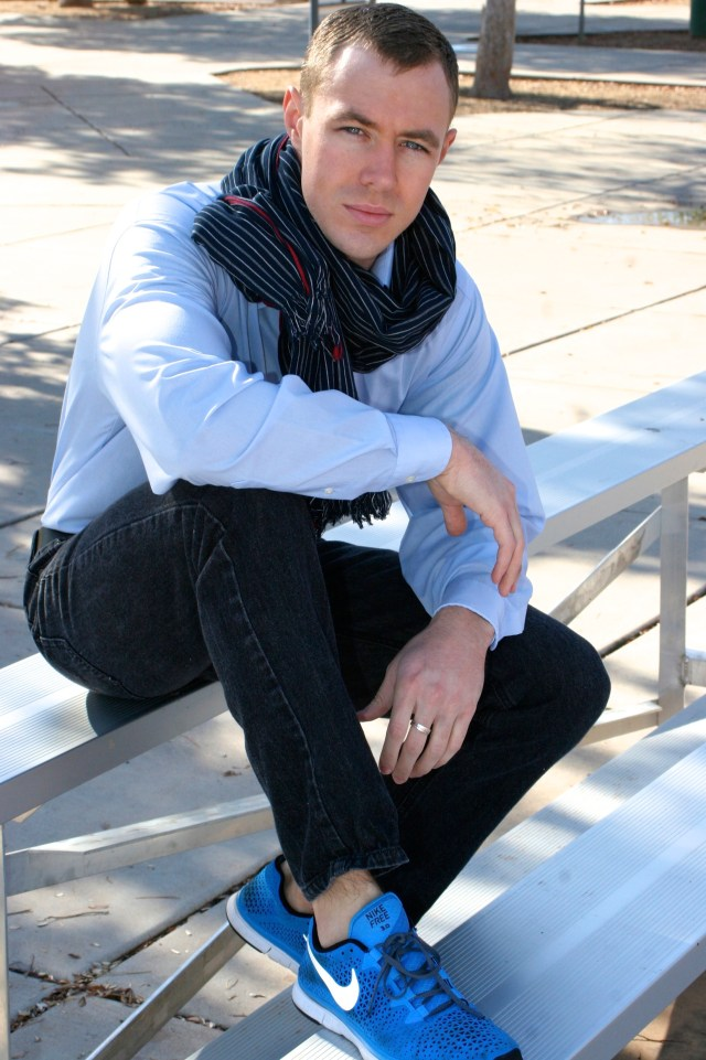 A dark scarf to your buttondown shirt - hopefully whitin the tones you are wearing.
