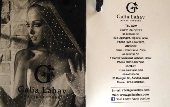 The Official Designer back tag by Galia Lahav Haute Couture