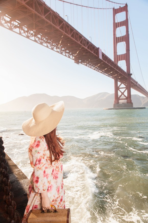 So, Nicole works with teams that knows the location(s) she visits, creating breathless imagery like this. Location: under the Golden Gate Bridge San Francisco Vintage dress Hair and makeup: Nicole Photographer: Maria Del Rio