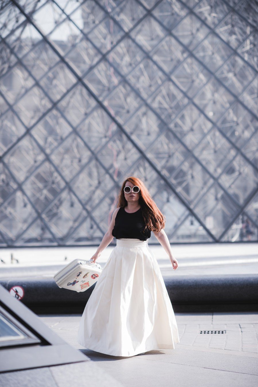 Once she told me, that is the place! - my home away from home, or actually, my home, Paris! Location: Louvre pyramid I.M. Pei design Outfit designed by: First-Class Belongings with fabrics from Mood NyC Photographer: Nathan Ishar