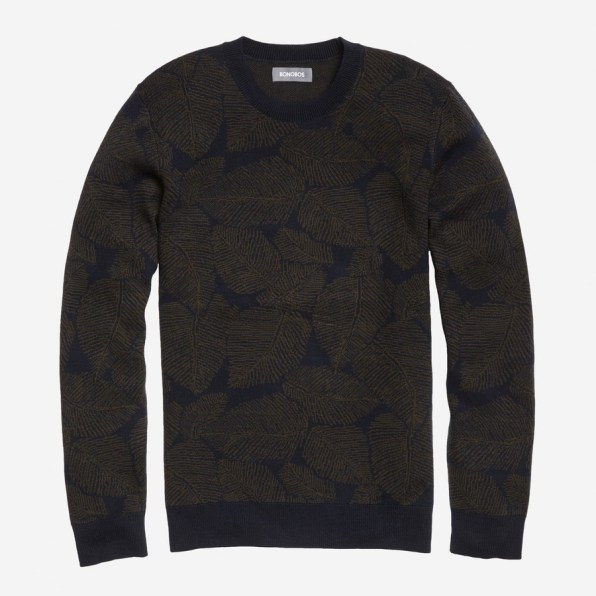 Palm Jacquard Crew Cotton sweater