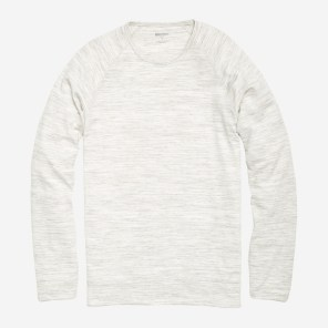 Yarn Spun Long Sleeve Henley in Marled White