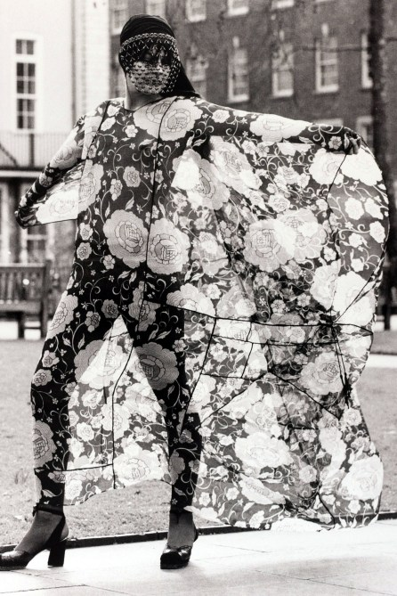 Fashion, England, 15th February 1971, A floating silk floral print chiffon outfit with a beaded mask from designer Thea Porter is modelled in London (Photo by Popperfoto/Getty Images)