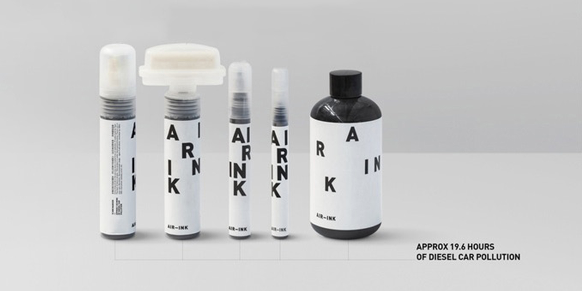 Picture of black Air Ink products that are made out of diesel car pollution
