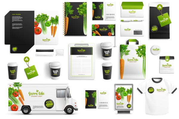 Different branded elements with the same branding. Homogeneity is the key to be recognized
