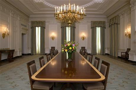 First Lady Michelle Obama has redecorated the White House State Dining Room for the first time since the Clinton Administration. Photo courtesy of the Associated Press.