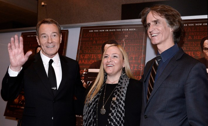Actor Bryan Cranston with Director Jay Roach and Producer Monica Levinson at the Newseum in 2015