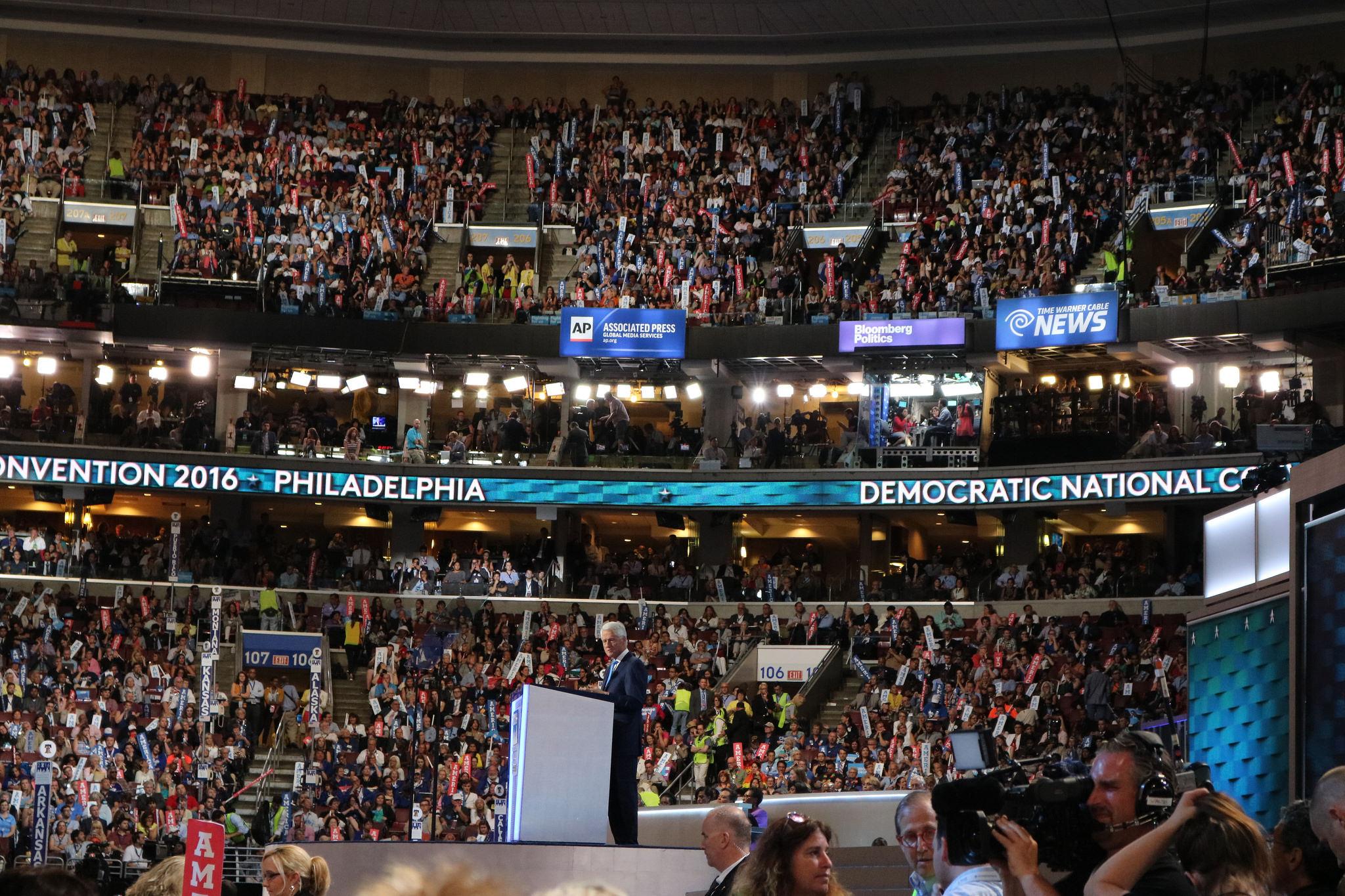 Bill Clinton speaking at the DNC, Photo courtesy of Haddad Media