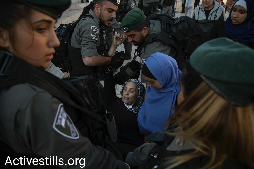 Border Police officers arrest Palestinians during a protest on Nakba Day at Jaffa Gate, in Jerusalem's Old City, May 15, 2018. (Faiz Abu Rmeleh/Activestills.org)