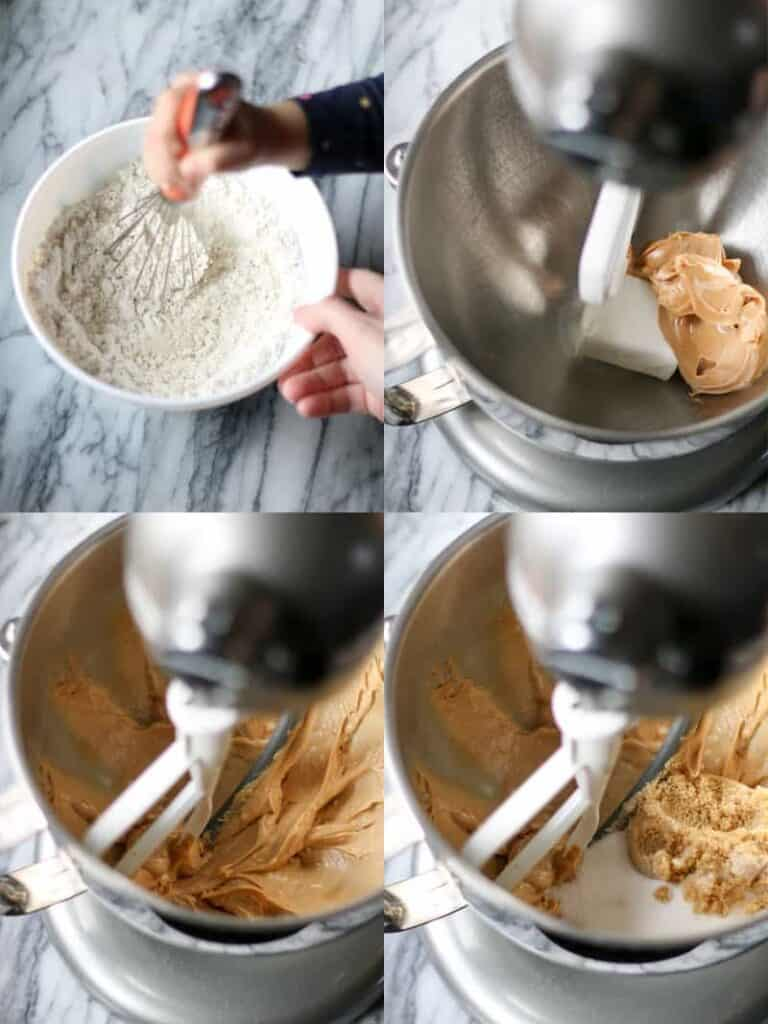 mixing dry ingredients, mixing peanut butter and shortening, adding brown and white sugar