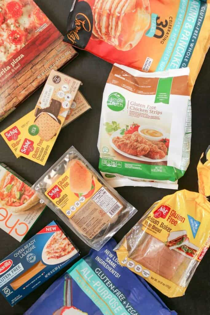 assorted best gluten free products including Pamela's blends, schar bread, barilla pasta, and a frozen pizza