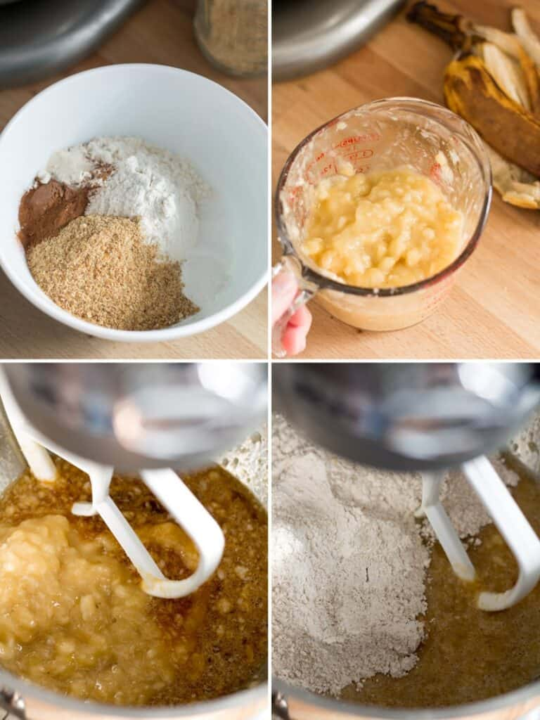 Steps to make whole grain gluten free banana muffins, dry ingredients in a bowl, mashed banana, and blending all the ingredients together.