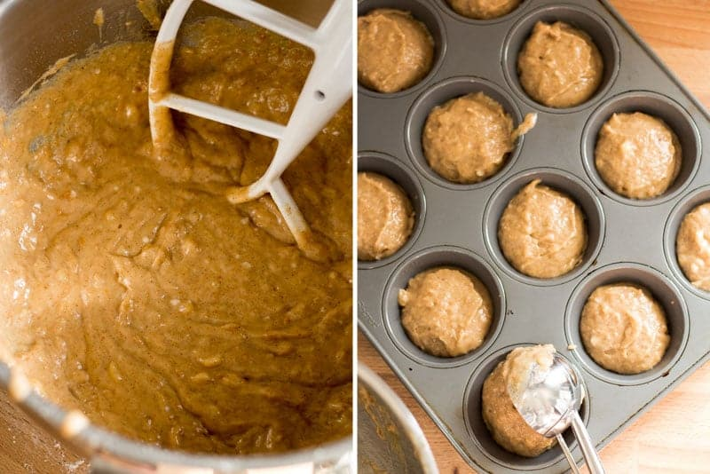 Muffin batter in mixing bowl. Muffin batter being scooped into muffin tin.