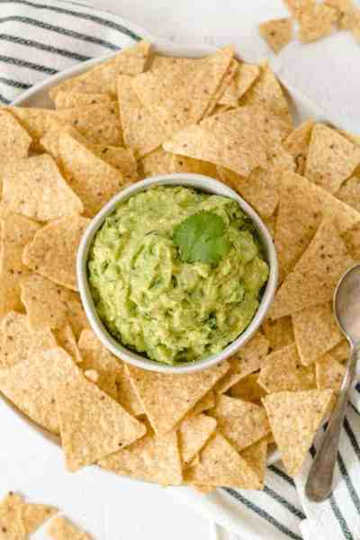 Easy Guacamole surrounded by chips.