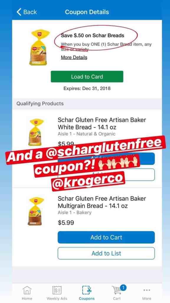 Digital coupon deal in Kroger app.