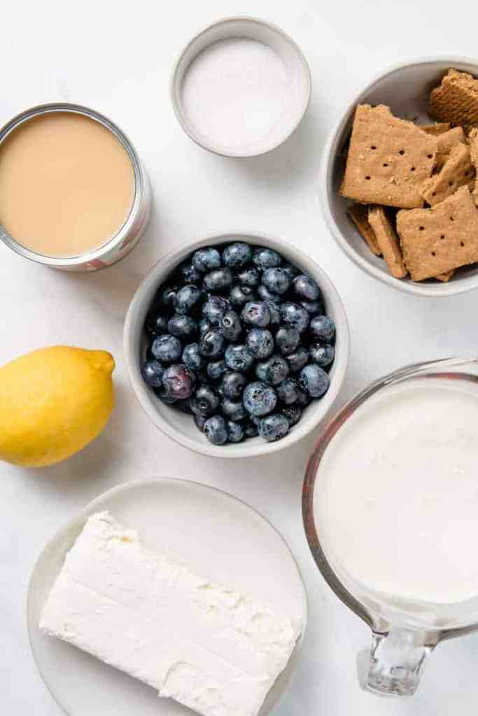 Flat lay of ingredients needed for blueberry cheesecake no churn ice cream.