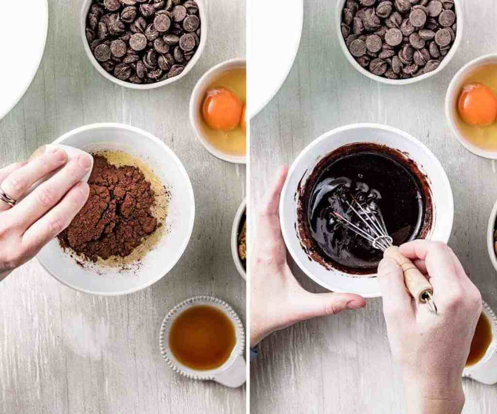 Pouring the cocoa powder into the melted butter and whisking until dissolved.
