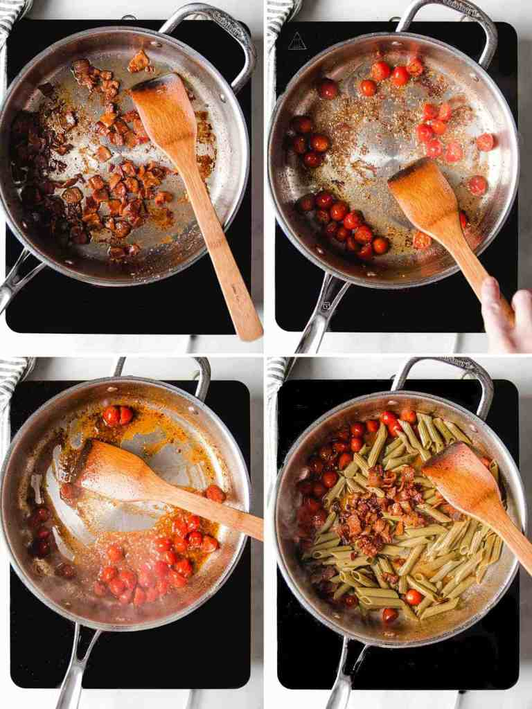 A collage showing the steps to make the pasta: cooked bacon, sautéing tomatoes in bacon fat, deglazing the pan, and stirring the ingredients together.