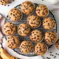 GF Chocolate Chip Banana Muffins on black wire rack.