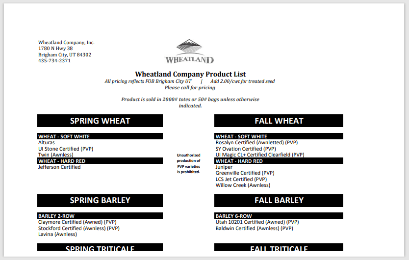 Wheatland Product List Thumbnail