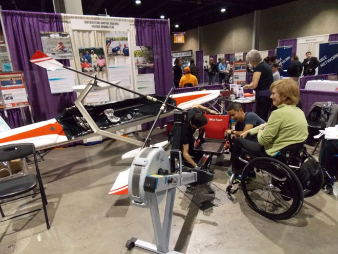 SEAS introduces the concept of adaptive rowing to Abilities Expo attendees.