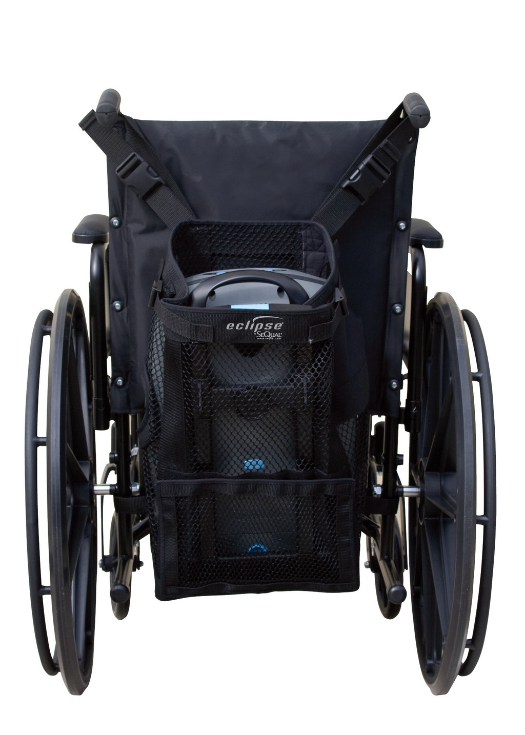 power chair accessories bags black bonded leather wheelchair assistance quickie tires 20 inch