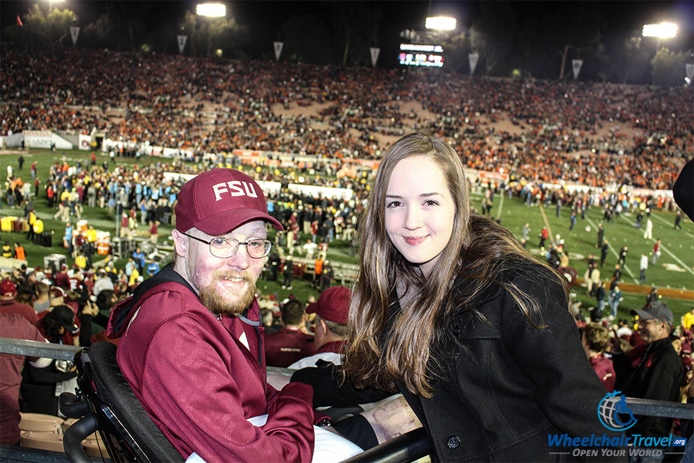 PHOTO DESCRIPTION: John with his sister at the Rose Bowl win Pasadena, California.