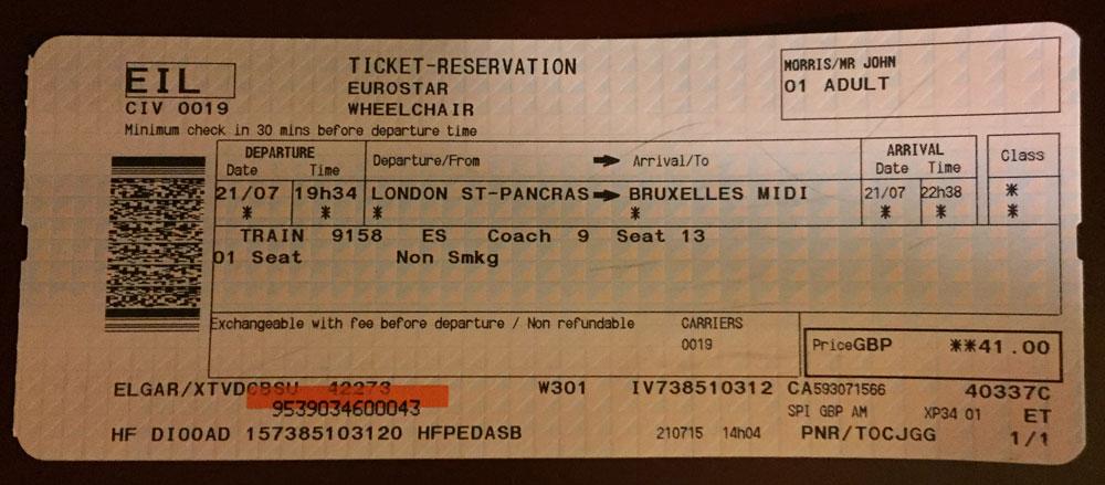 Eurostar Ticket, London to Brussels - Photo by WheelchairTravel.org John Morris