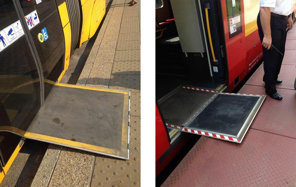 Wheelchair accessible ramps on Warsaw, Poland trains and trams.