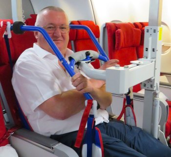 The Eagle Lift assists passengers with disabilities to safely transfer from their personal wheelchair to the airplane seat,