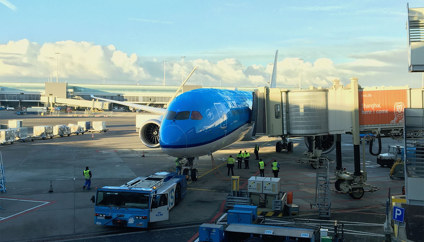 Inaugural flight on the KLM Boeing 787 Dreamliner aircraft.